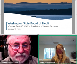 Washington State Board of Health - Board Meeting (October 13, 2020) - Rulemaking - Prohibition - Vitamin E Acetate - Introduction