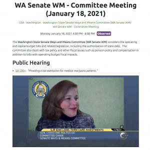 WA Senate WM - Committee Meeting (January 18, 2021)